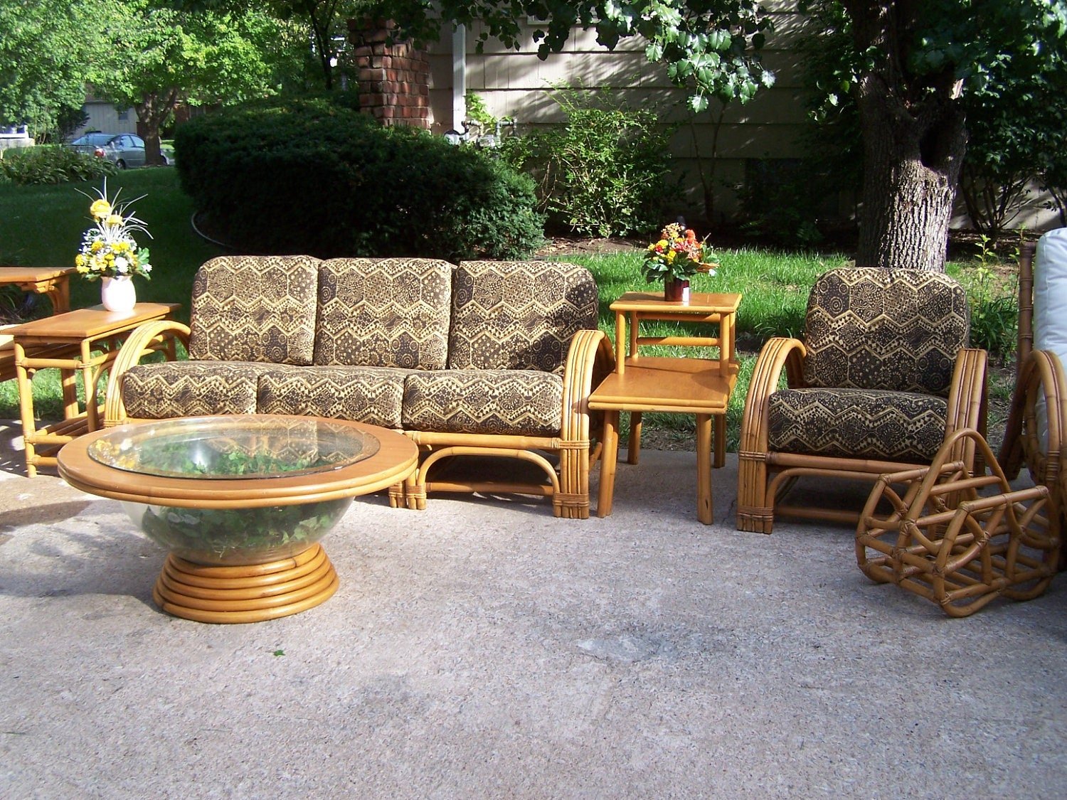 vintage rattan sectional sofa chair and 2 tier by thelaststrawltd. Black Bedroom Furniture Sets. Home Design Ideas