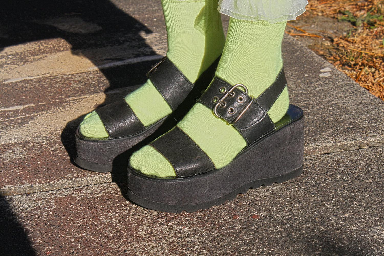 Vintage 90s GOTH GRINGE black platform sandals size 7-7.5 ...