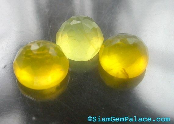 YeLLoW OPAL. LeMon DRop. Micro Facet Honeycomb Cut Cabochon. 3 pcs. 7.00 cts. 8.5 and 9 mm (OP228)