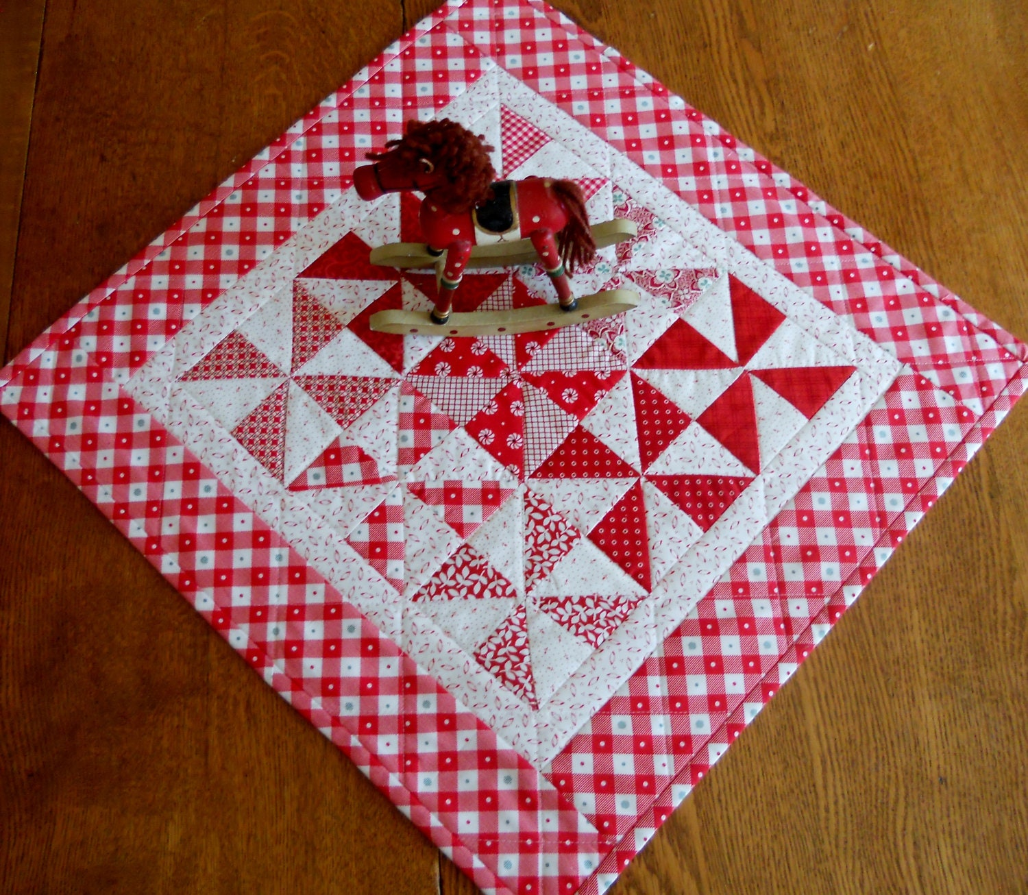 Quilted Table Runner Topper Retro Pinwheels Red And White