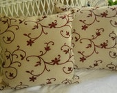 set of two lumbar pillow covers...  satin stitch floral embroidery  reserved for Erin