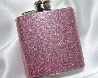 3 oz. Womens Glitter Hip Flask Sparkling Pink w/ Tote and funnel - Great Gift Idea