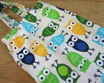 SALE Fabric Plastic Bag Holder and Dispenser - Urban Zoologie Blue and Green Owls