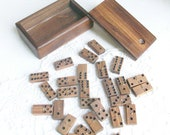 Wooden Double Six Dominos in Wood Box with Spinners