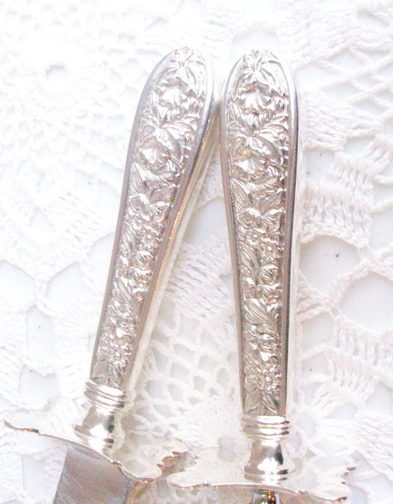 Free US Ship 2 Sterling Silver Stieff Corsage Carving Set Knife Fork //