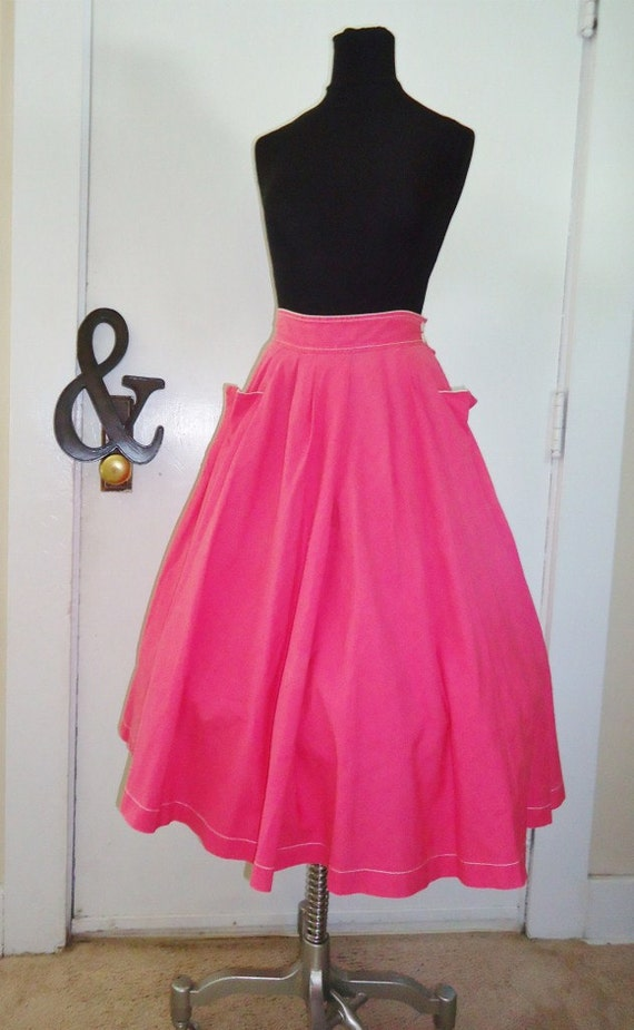 Hot Pink 50's Style Vintage 1980's Full Circle Skirt XS S