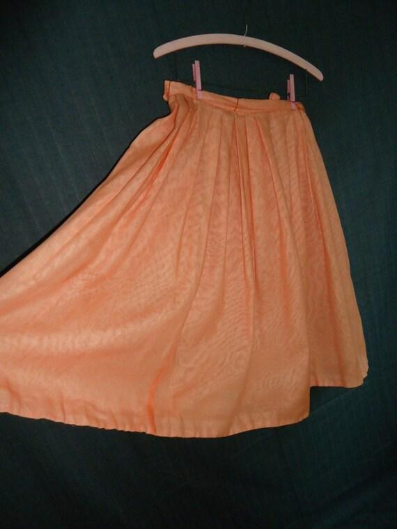 Peach Pleated Vintage 1950's 1960's Rockabilly Full Skirt L XL