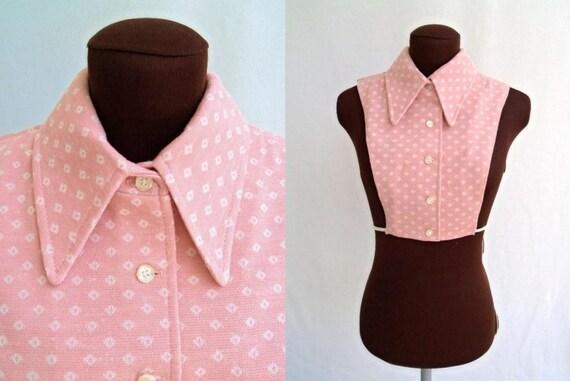 Vintage 70's Dickie Collar in  Rose Pink Geometric Print