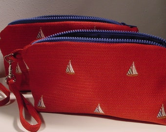 Set of 2 Wristlets, Cosmetic Cases, Mini Purses, Jewelry Pouches, Travel accessories, nautical theme