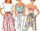 Vintage Harem Pants & Skirt Sewing Pattern Retro 80's Butterick 5610