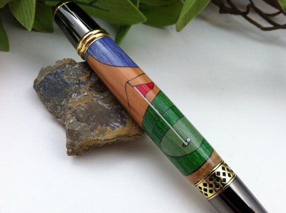 Golf Pro Wood Inlay Writing Pen - Free Engraving