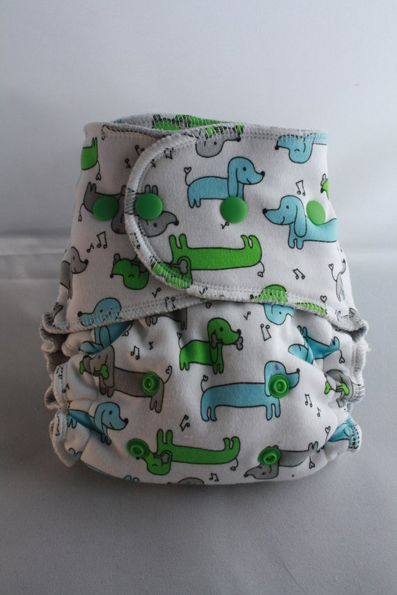 Lambie Love Fitted Cloth Diaper--One Size Fits Most--Long Puppy---Cotton Velour, Organic Hemp Fleece, & Bamboo Fleece