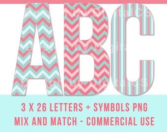 Digital alphabet letters Digital letters Clip art alphabet Clip art letters Commercial use Chevron Mint Pink. Digital clipart