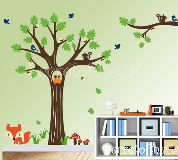 Nursery Wall Decal Tree Vinyl Decal- Squirrel Forest Decal - Children Wall Sticker - Original Design by SecretoftheCat