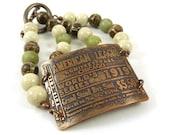 1919 World Series Baseball Bracelet Etched Copper Sage Green Ivory Cream Riverstone Tibetan Agate Beaded