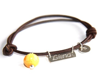 Personalized Name Bracelet- sterling silver 925 pendant, Baltic Sea Amber and Sign Pendant on leather cord