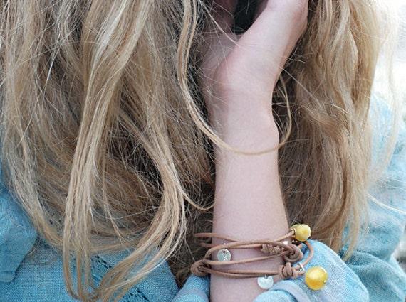 Handmade Bracelet of SUCCESS- Amber on sliding leather