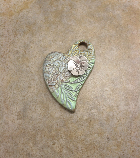 Green Heart Pendant With Pansy Silver Lime Sage Blue Flower Heart