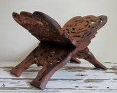 Vintage Carved Wood Cookbook Holder