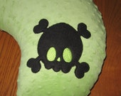 Skull and Crossbones on Minky Dot Nurture Pillow Cover Also Fits Boppy Brand Pillow Your Choice Of Colors