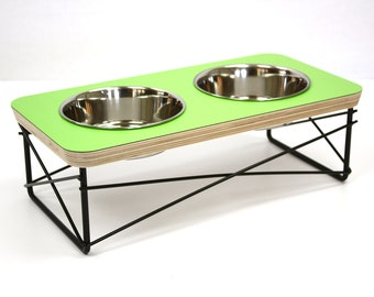 Modern Pet Feeder - Dog Bowl or Cat Bowl Elevated Feeder Mid Century Modern Design Eames Inspired in Apple Green Color
