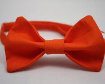 Bright Orange Clip on Bow Tie - Infant, Toddler, Boys