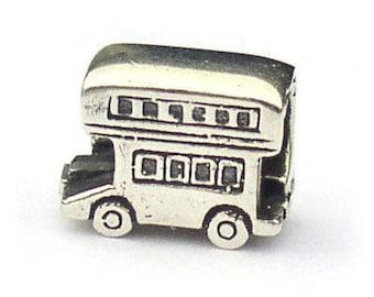 Double-decker Bus Sterling Silver London Landmark Bead LM003