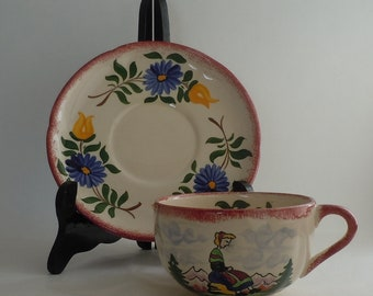 Lovely Vintage Desvres France Cup and Saucer Hand Painted