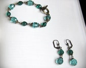 Jewelry Set, Bracelet and Earrings, in Aqua Blue Faceted Czech Glass Beads and Antiqued Brass