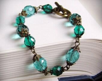 Aqua Bracelet, in Antiqued Brass and Czech Glass