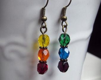 Beaded Rainbow Earrings, in faceted czech glass