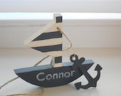 Modern nautical nursery - personalized sailboat with anchor