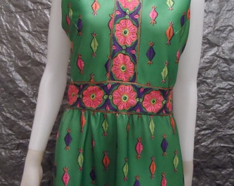 Vintage Bright Green Retro Print 60's Sleeveless Maxi Dress  M