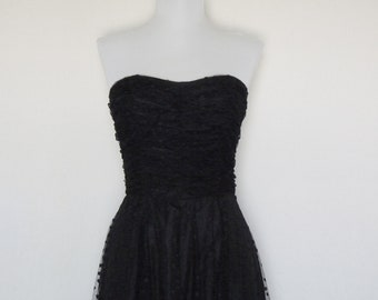 SHOP SALE! Vintage Black Dress with Sheer Polka Dot Overlay / Made by Roberta California / 1950s Style / Prom / Homecoming