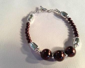 Brown Bracelet - Pearl Jewellery - Bridesmaid Jewelry - Silver - Beaded - Wedding - Earth Tones - Chunky - Elegant - Classic - Mod