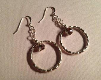 Crystal Earrings - Silver Jewellery - Wedding Jewelry - Hoop - Bride - Bridesmaid - Glam