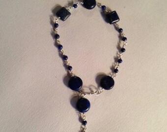 Lapis Bracelet - Lapis Jewelry - Navy Blue Lapis Jewelry Gemstone Jewellery Wire Wrapped Denim Sterling Silver Fashion Unique