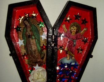 MOTHER & CHILD - Lady Of Guadalupe and Divino Niño Jesus, Religious Altar Shrine, Wooden Coffin, Mexican Folk Art, Day of the Dead