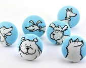 Dog Push Pin Thumbtacks / Magnet /  Covered Fabric Button Pushpin Thumb Tack / Office Decor / Craft Button / Blue White / Animal / Cute  24