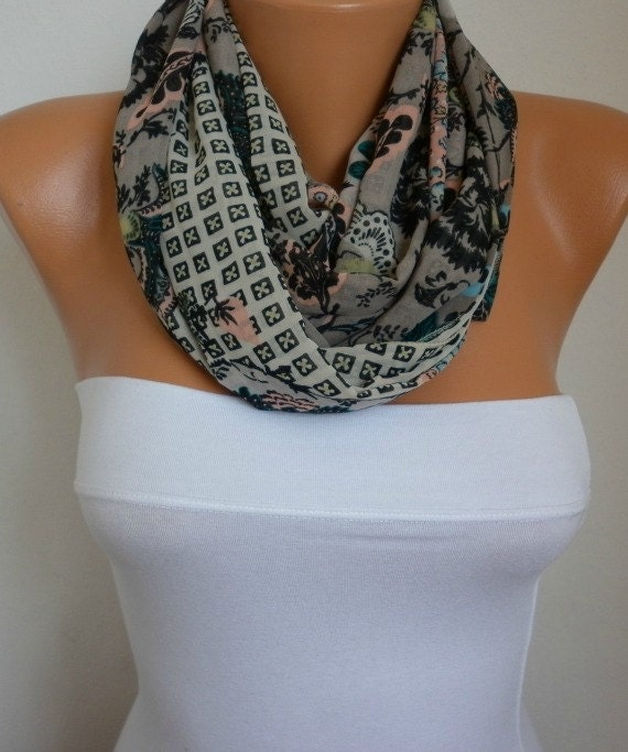 Floral Infinity Scarf Shawl Circle Scarf  Loop  Scarf Gift -fatwoman