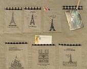 Cotton Linen Fabric Cloth -DIY Cloth Art Manual Cloth -Eiffel Tower 55x19 Inches