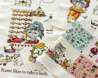Cotton Linen Fabric Cloth -DIY Cloth Art Manual Cloth-Bath Cat  55x16Inches