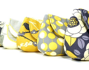 Bridesmaid Clutches Wedding Clutch Bridesmaids Purses Choose Your Fabric Gray Yellow Set of 5