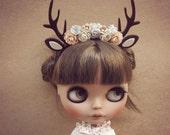 Brown Long deer flowers headband