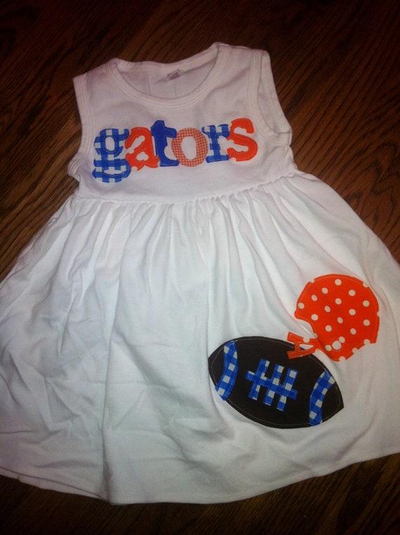 Football Dress - Florida Gators Toddler Dress - Football Applique  Dress- You Choose Your Team Mascot and Colors