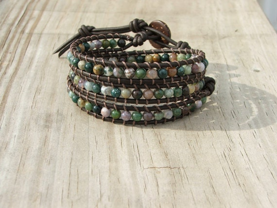 Handmade Leather Wrap Bracelet - Fancy Jasper beads on brown leather