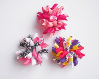 Custom - One Small Korker Bow - You Pick Your Color/Print - Corkscrew Bows - Corkscrew Clips - Korker Bows - Korker Clips