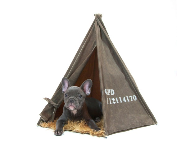 X-Small Dark Tan Waxed Canvas Pup Tent for cats + teacups SAMPLE SALE