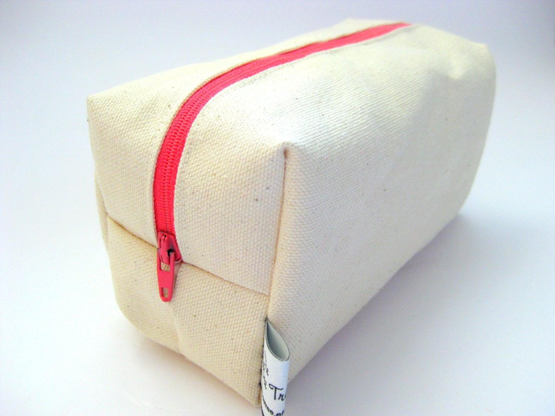 Canvas Makeup Bag Large Pencil Case Plain Cream Heavy