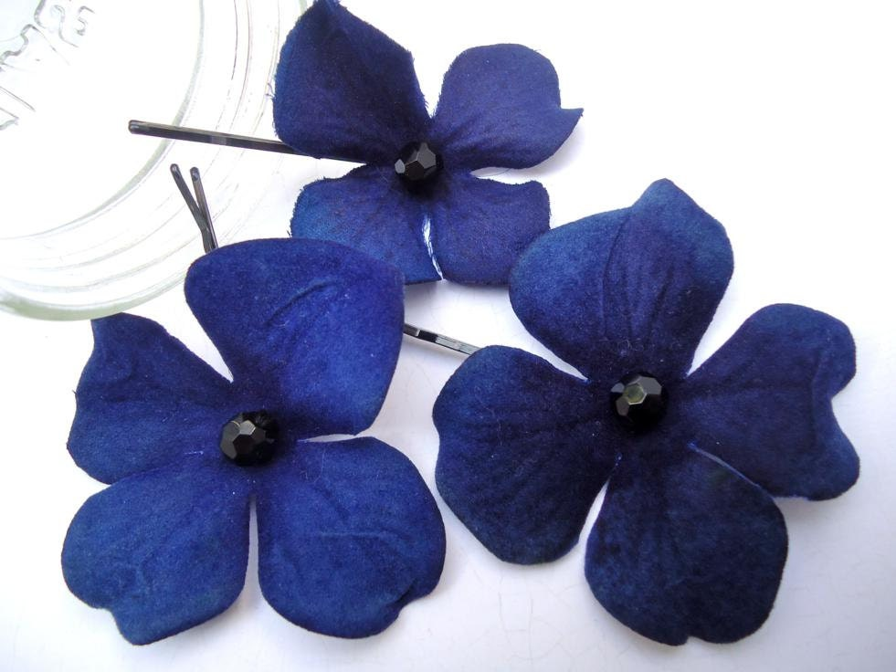 Dark Blue Hydrangea Bobby Pins Royal Blue Hair By LizabethDezigns